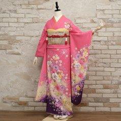 振袖 フルセット 花柄 Lサイズ ピンク・オレンジ系 (中古 リユース 美品) 46221