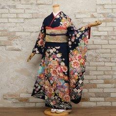 振袖 フルセット 花柄 Lサイズ 青・紺系 (中古 リユース 美品) 26452