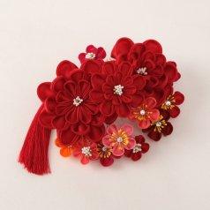髪飾り つまみ細工 ヘアアクセ お花 赤 【Watuu/和つう】【日本製】aoi1220