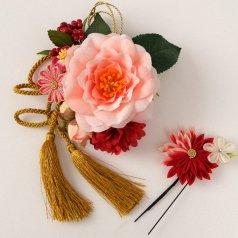 髪飾り つまみ細工 コサージュ ヘアアクセ お花2点セット ミックスカラー【日本製】KT-795