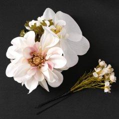 髪飾り コサージュ ヘアアクセ お花 2点セット 白【花咲音-KASANE-】KT-834