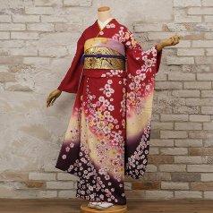 振袖 フルセット 花柄 Lサイズ 赤・ワイン系 (中古 リユース 美品) 16198