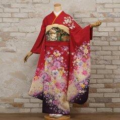 振袖 フルセット 花柄 Lサイズ 赤・ワイン系 (中古 リユース 美品) 16221