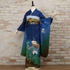 振袖 フルセット モダン柄 Mサイズ 青・紺系 (中古 リユース 美品) 25999