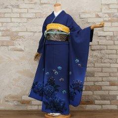 振袖 フルセット モダン柄 Lサイズ 青・紺系 (中古 リユース 美品) 25999