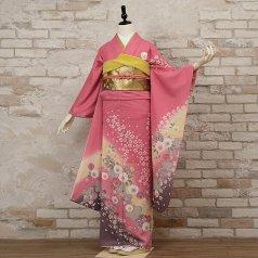 振袖 フルセット 花柄 Mサイズ ピンク・オレンジ系 (中古 リユース 美品) 46124