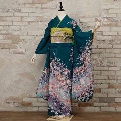 振袖 フルセット 花柄 Lサイズ グリーン系 (中古 リユース 美品) 96343