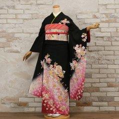 振袖 フルセット 花柄 Mサイズ 黒系 (中古 リユース 美品) 66164