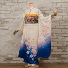 振袖 フルセット 花柄 Lサイズ 白・グレー系 (中古 リユース 美品) 86386