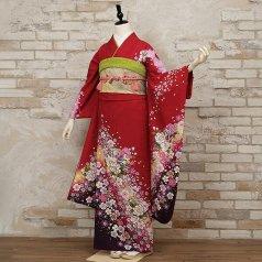振袖 フルセット 花柄 Lサイズ 赤・ワイン系 (中古 リユース 美品) 16558