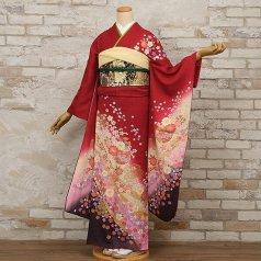 振袖 フルセット 花柄 Mサイズ 赤・ワイン系 (中古 リユース 美品) 16383