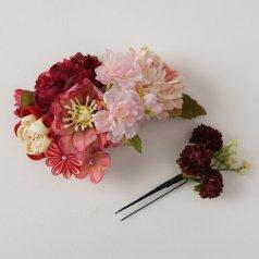 髪飾り つまみ細工 ヘアアクセ お花2点セット 赤 ピンク ミックスカラー【花咲音-KASANE-】KT-830