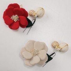 髪飾り ヘアアクセ お花・毬 2点セット 赤 白【Watuu/和つう】【日本製】