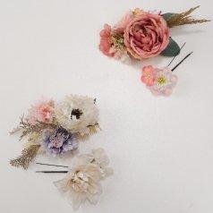 髪飾り つまみ細工 ヘアアクセ お花 2点セット 白 ピンク【Watuu/和つう】【日本製】KT-799/KT-801