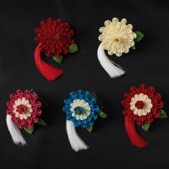 髪飾り つまみ細工 ヘアアクセ お花 タッセル 赤 白 青 ピンク【Watuu/和つう】【日本製】