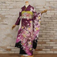 振袖 フルセット 花柄 Mサイズ 紫系 (中古 リユース 美品) 56324