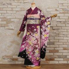 振袖 フルセット 花柄 Lサイズ 紫系 (中古 リユース 美品) 56324