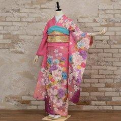 振袖 フルセット 花柄 Mサイズ ピンク・オレンジ系 (中古 リユース 美品) 46431