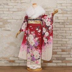 振袖 フルセット 花柄 Mサイズ 赤・ワイン系 (中古 リユース 美品) 16298