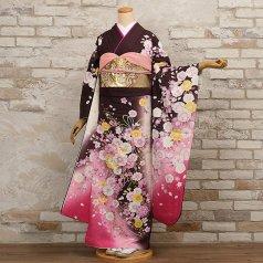 振袖 フルセット 花柄 Lサイズ 茶系 (中古 リユース 美品) 76324