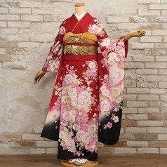 振袖 フルセット 花柄 Lサイズ 赤・ワイン系 (中古 リユース 美品) 16347
