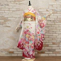 振袖 フルセット 花柄 Lサイズ 白・グレー系 (中古 リユース 美品) 86418