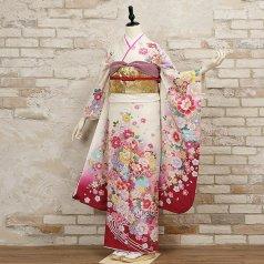 振袖 フルセット 花柄 Mサイズ 白・グレー系 (中古 リユース 美品) 86418