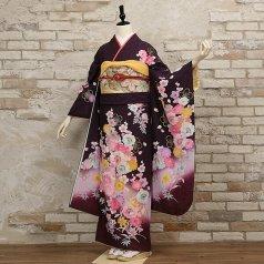 振袖 フルセット 花柄 Mサイズ 紫系 (中古 リユース 美品) 56316