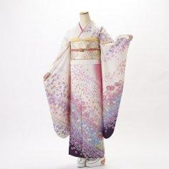 振袖 フルセット 花柄 Mサイズ 白・グレー系 (中古 リユース 美品) 86157