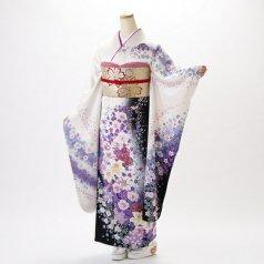 振袖 フルセット 花柄 Mサイズ 白・グレー系 (中古 リユース 美品) 86329