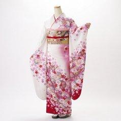 振袖 フルセット 花柄 Mサイズ 白・グレー系 (中古 リユース 美品) 86331