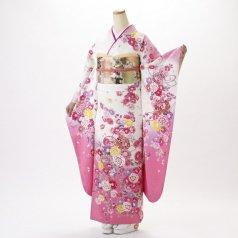 振袖 フルセット 花柄 Lサイズ 白・グレー系 (中古 リユース 美品) 86515