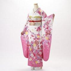 振袖 フルセット 花柄 Mサイズ 白・グレー系 (中古 リユース 美品) 86515