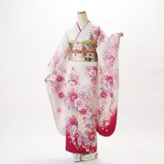 振袖 フルセット 花柄 Mサイズ 白・グレー系 (中古 リユース 美品) 86373