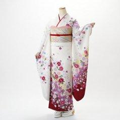 振袖 フルセット 花柄 Lサイズ 白・グレー系 (中古 リユース 美品) 86374