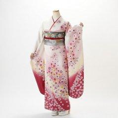 振袖 フルセット 花柄 Lサイズ 白・グレー系 (中古 リユース 美品) 86198