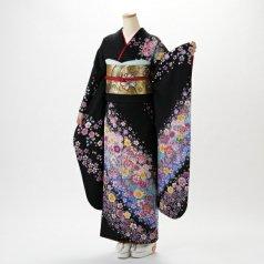 振袖 フルセット 花柄 Mサイズ 黒系 (中古 リユース 美品) 66543