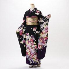 振袖 フルセット 花柄 Lサイズ 黒系 (中古 リユース 美品) 66353