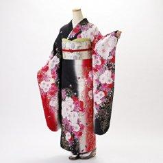 振袖 フルセット 花柄 Mサイズ 黒系 (中古 リユース 美品) 66434