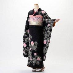振袖 フルセット 花柄 Lサイズ 黒系 (中古 リユース 美品) 66579