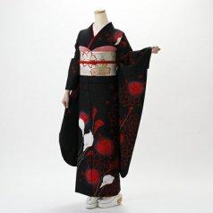 振袖 フルセット 花柄 Lサイズ 黒系 (中古 リユース 美品) 66413