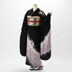 振袖 フルセット 花柄 Mサイズ 黒系 (中古 リユース 美品) 66122