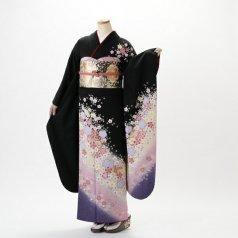 振袖 フルセット 花柄 Lサイズ 黒系 (中古 リユース 美品) 64013