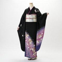 振袖 フルセット 花柄 Lサイズ 黒系 (中古 リユース 美品) 66059