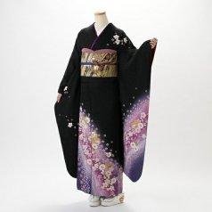 振袖 フルセット 花柄 Mサイズ 黒系 (中古 リユース 美品) 66059