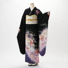 振袖 フルセット 花柄 Lサイズ 黒系 (中古 リユース 美品) 66165