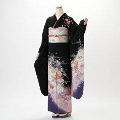 振袖 フルセット 花柄 Mサイズ 黒系 (中古 リユース 美品) 66165