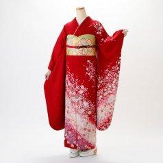 振袖 フルセット 花柄 Mサイズ 赤・ワイン系 (中古 リユース 美品) 16343
