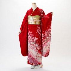 振袖 フルセット 花柄 Lサイズ 赤・ワイン系 (中古 リユース 美品) 16343