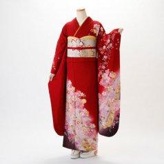 振袖 フルセット 花柄 Lサイズ 赤・ワイン系 (中古 リユース 美品) 16226
